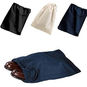 Custom Reusable Cotton Shoe Bags with Drawstring (Navy).