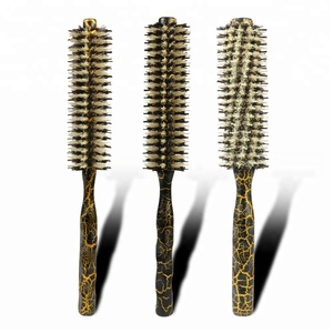Professional Round Curly Hair Comb Anti-static Heat Resistant Hairdressing Wood Handle Round Hair Brush