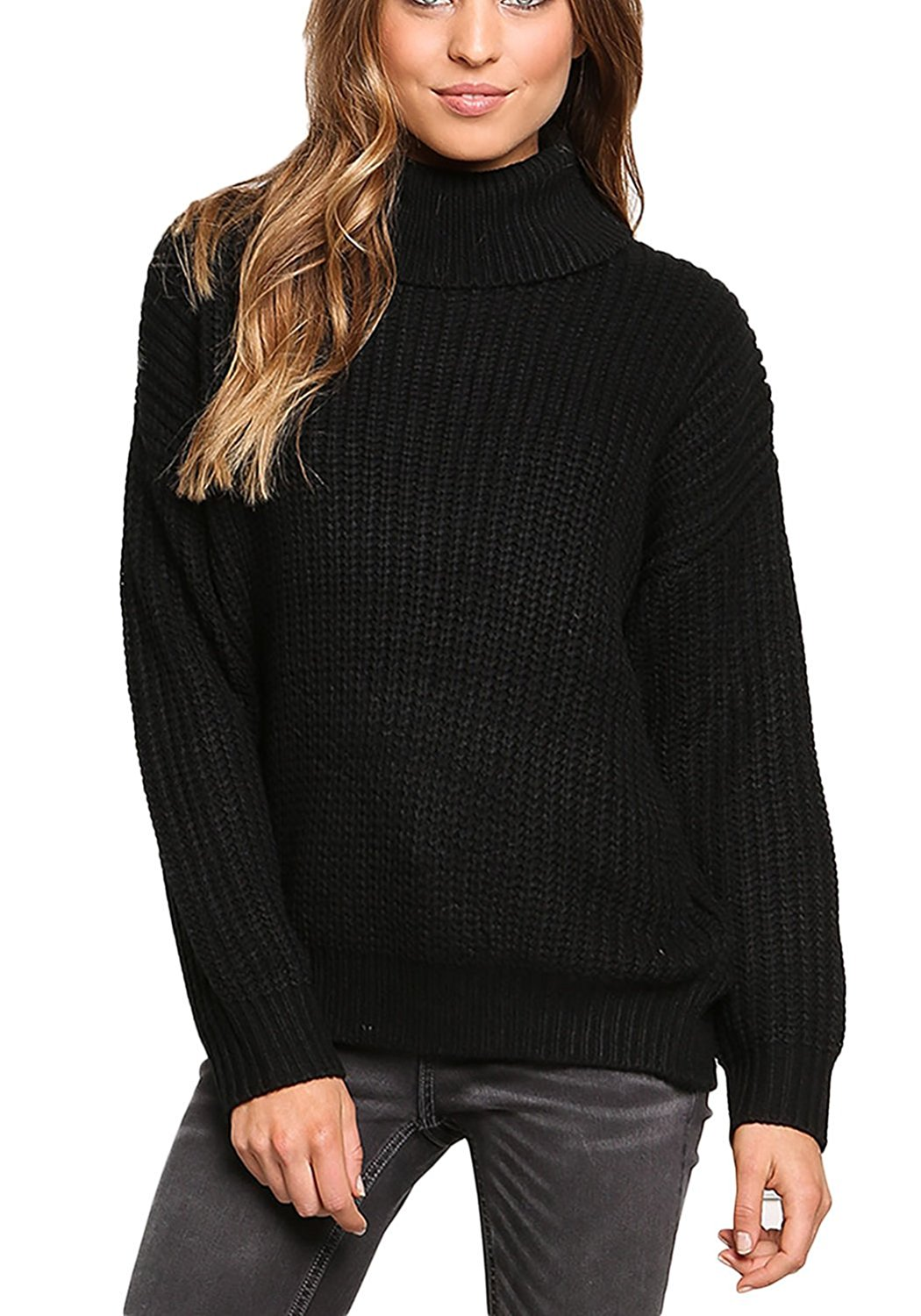 f3070bcfd09c Buy Love Culture Womens Black Chunky Knit Turtleneck Sweater Top in ...