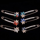 Flower Crystal Safety Pin Paper Clip Brooch For Girl Shirt Dress Lapel Pin Jewelry