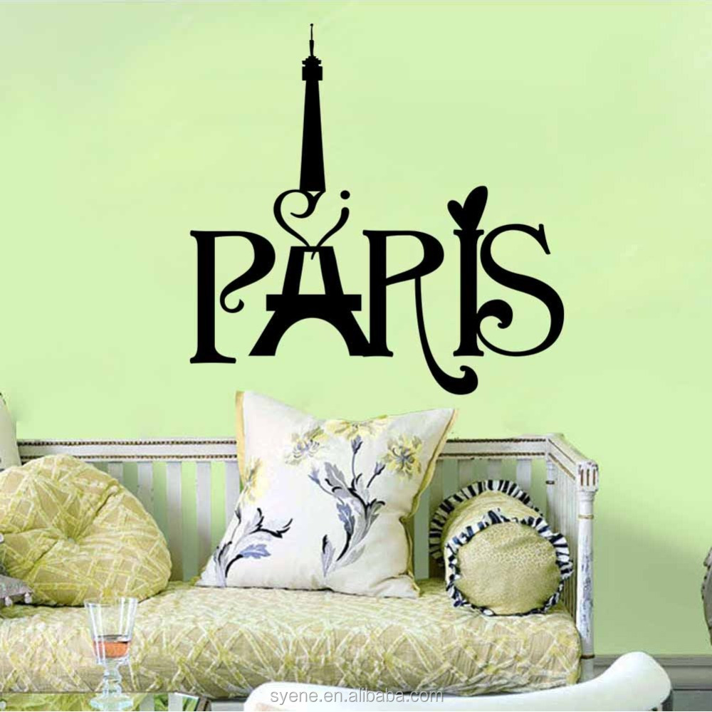 Paris Eiffel Tower Stiker Dinding 3d Art Vinyl Dekoratif Tahan Air