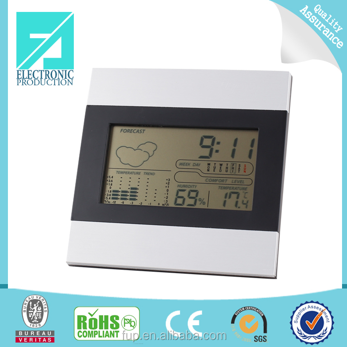 Fupu New Item wall clock type digital thermometer hygrometer measure temperature and humidity clock