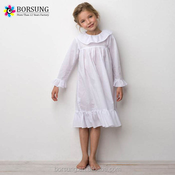 4eb4b0c57c2e Latest Frock Design Long Sleeve Ruffle Plain White Baby Clothes Fashion  Girls Cotton Dresses For Kids
