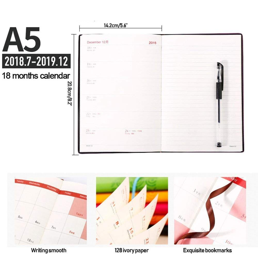 Aolvo A5 Planner Notebook A5 Planner 2018-2019, Daily & Weekly & Monthly Planner A5 Notebook Premium Thicker Paper with Pen Holder - 128 Ivory Papers/256 Notes Pages