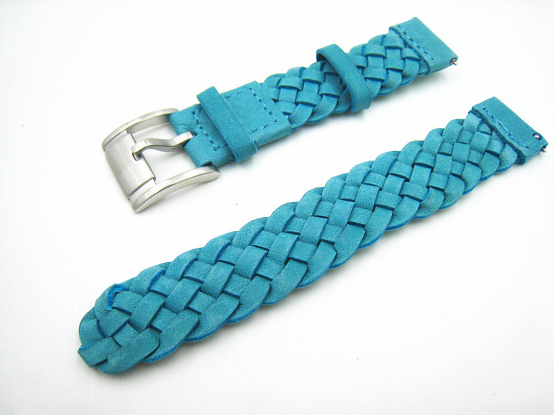 2015 New Durable Men Women Genuine Leather Weave Watch Strap Watch Band 18mm Blue Free Shipping