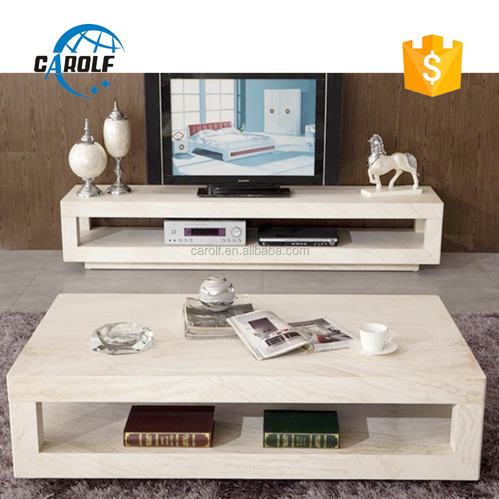 Rectangle Travertine Living Room Marble Tv Stand With Coffee Table