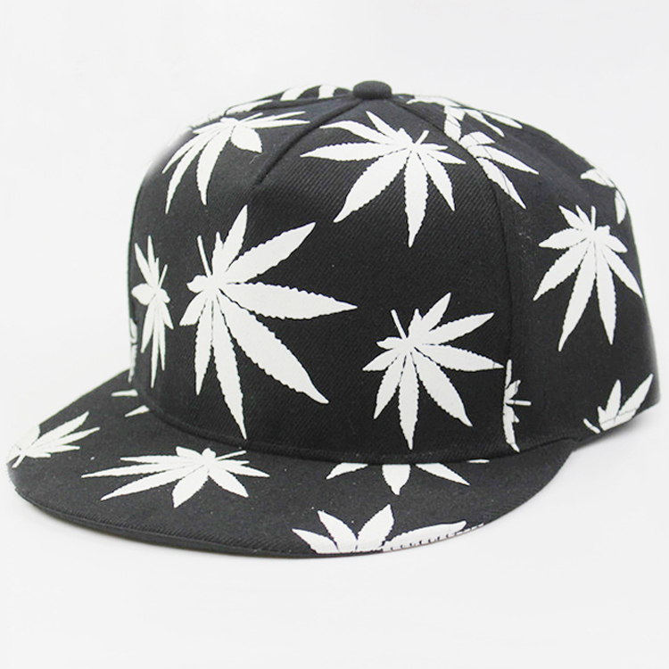 Commercio all'ingrosso Glow in The Dark Hip-Hop Weed Leaf Stampa Acrilico Twill Cappelli di Snapback Economici
