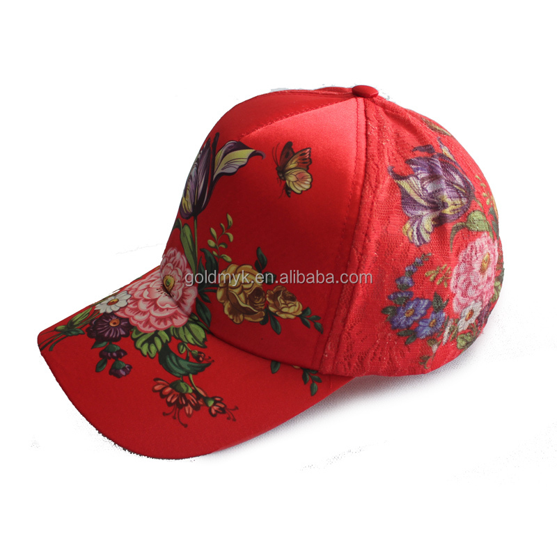 printing flower pattern 6 panel customized cheap baseball cap