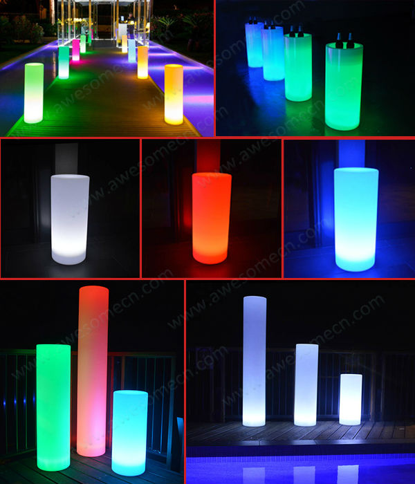 Battery powered 16 color change led lighted acrylic for Column decorations home