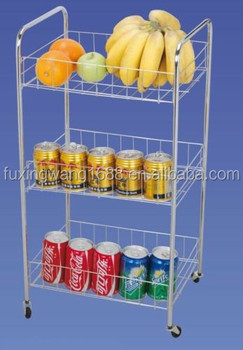 SILVER KITCHEN 3 TIER STORAGE FRUIT BASKET VEGETABLE TROLLEY CART WITH  WHEELS