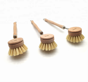 Natural kitchen sink bamboo wood dish brush cleaning
