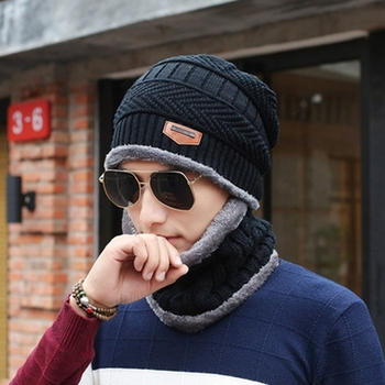 Men Warm Hats Cap Scarf Winter Wool Hat Knitting for Men Beanie Caps