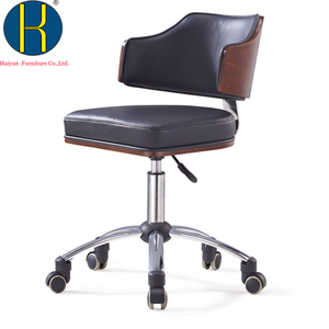 Manufacturer Hot sale chair with backrest Black real leather stool