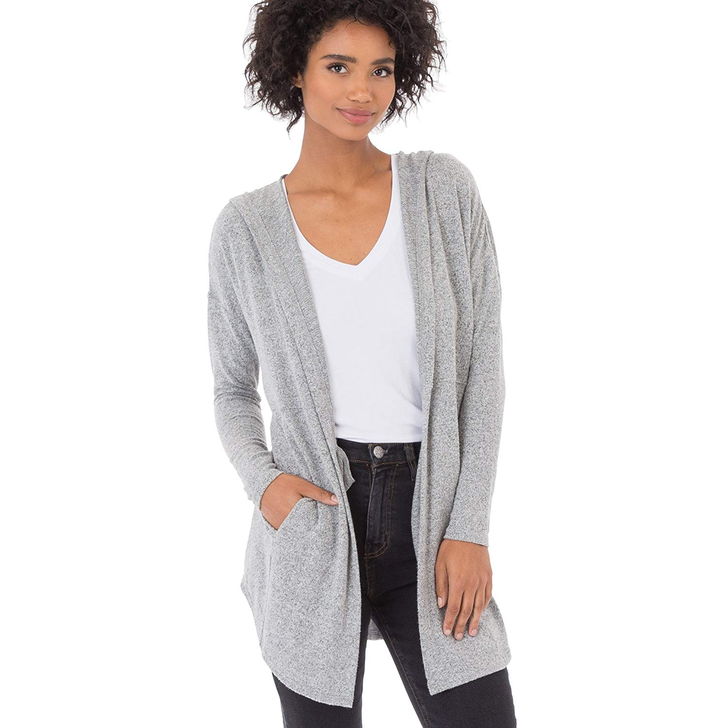 Get Quotations · Z SUPPLY Women s The Marled Hooded Longline Cardigan  Sweater 70a39f271