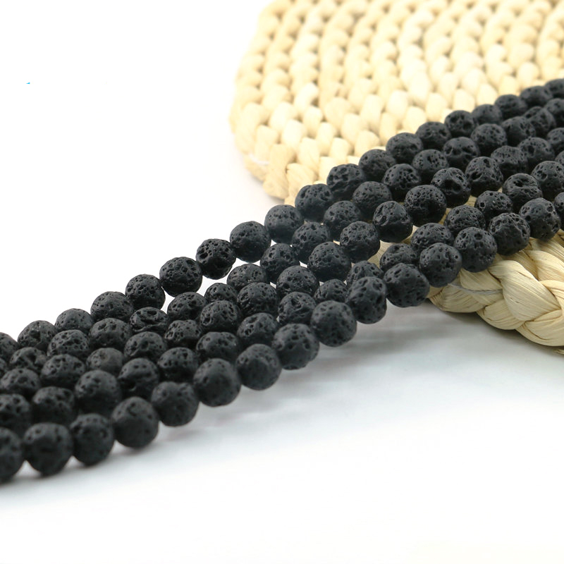 XULIN Bracelet Jewelry Bulk Black Natural Lava Stone Rock Loose Beads round Bemstone Bead