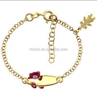 Gold Plated Stainless Steel Rolo Link Baby Id Bracelet, Cute Design Baby Jewelry Wholesale
