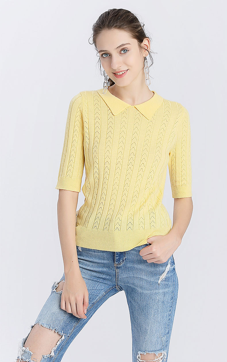 Factory Oem Service summer candy color leisure breathable crochet knit sweater half sleeve young lady shirt sweater