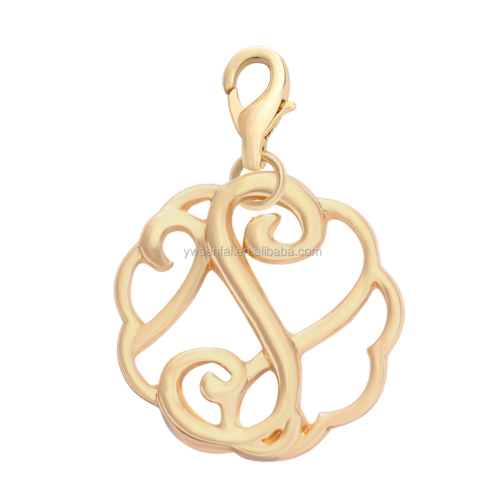 Wholesale custom Rattan Shaped golden letter S pendants