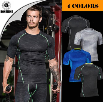 Fitness uniforms basketball clothes elastic compression drying clothing sports tights short - sleeved MA20
