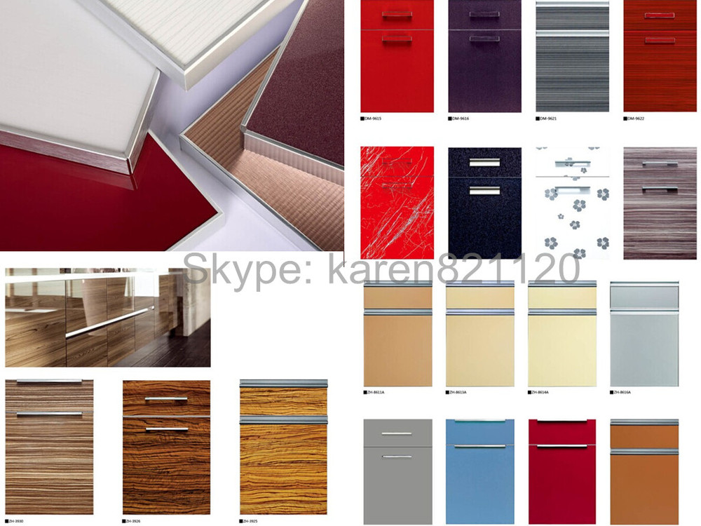18mm fancy mdf board vinyl wrapped pvc kitchen cabi