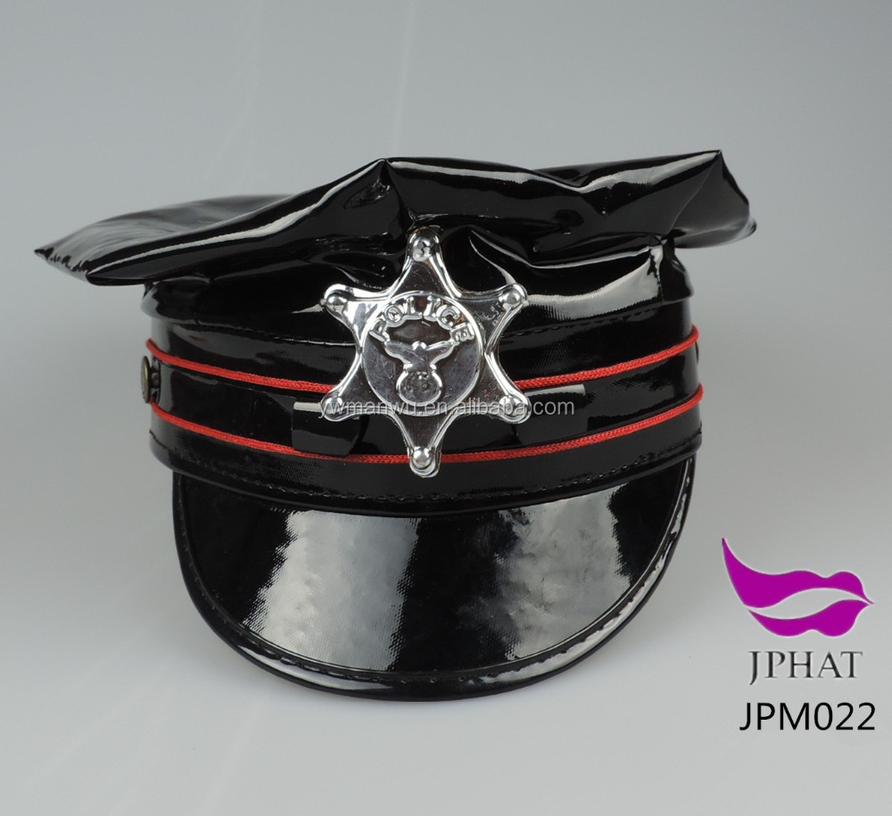 Leather police officer hat cosplay service cap uniform cap sailor hat