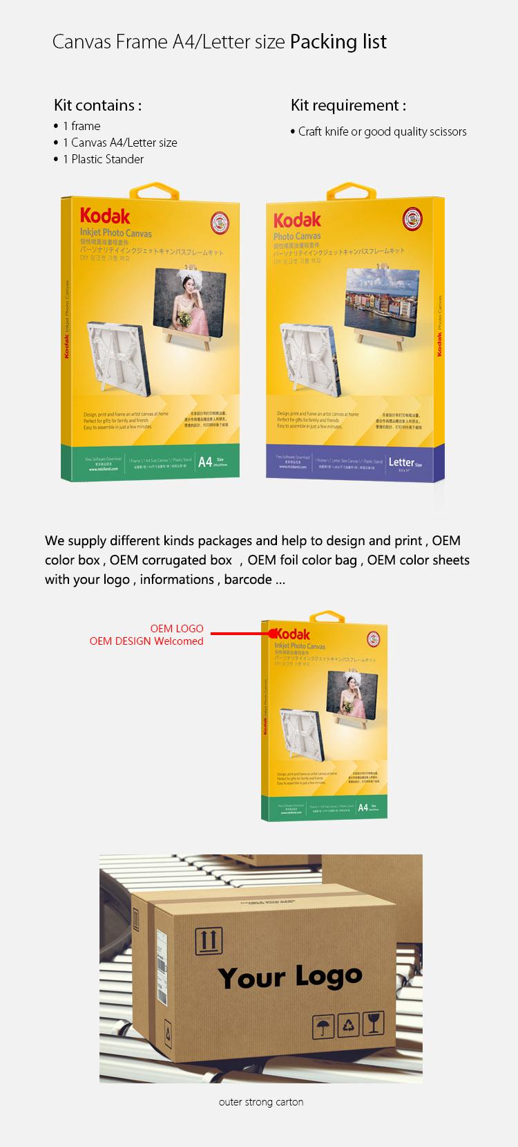 Kodak Lizenzierte Diy Inkjet Photo Leinwand Rahmen - Buy Product on ...