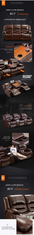आधुनिक यूरोपीय शैली के फर्नीचर सेट बिजली दुबई सिनेमा चमड़े पावर लाउंज Kuka अनुभागीय मोटर चालित 3 सीटों वाले झुकनेवाला सोफे