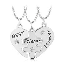 High Polished Silver Plated Engraved Best Friends Forever Bff Heart Puzzle Pendant Necklace For Gifts
