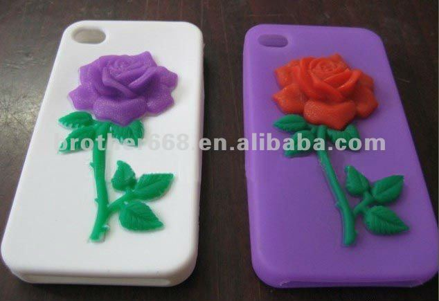 2013 top quality silicone rose pattern mobile phone case silicone cover