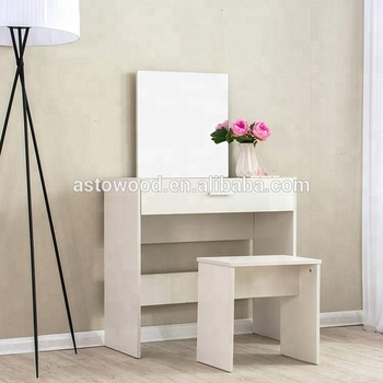 White Dressing Makeup Table Set Vanity With Mirror & Stool White Color