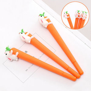 Novelty Cute Rabbit Carrot Gel Pen Ballpoint Kids Stationery Writing Supplies Promotion AB857