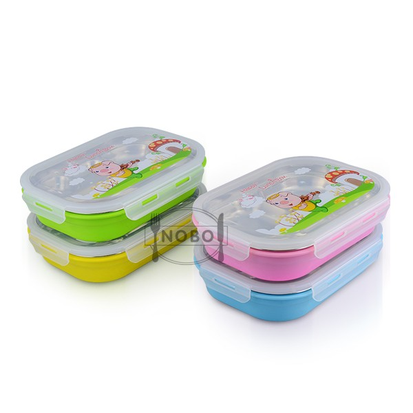 304 Stainless steel snack lunch box with plastic lid for kid