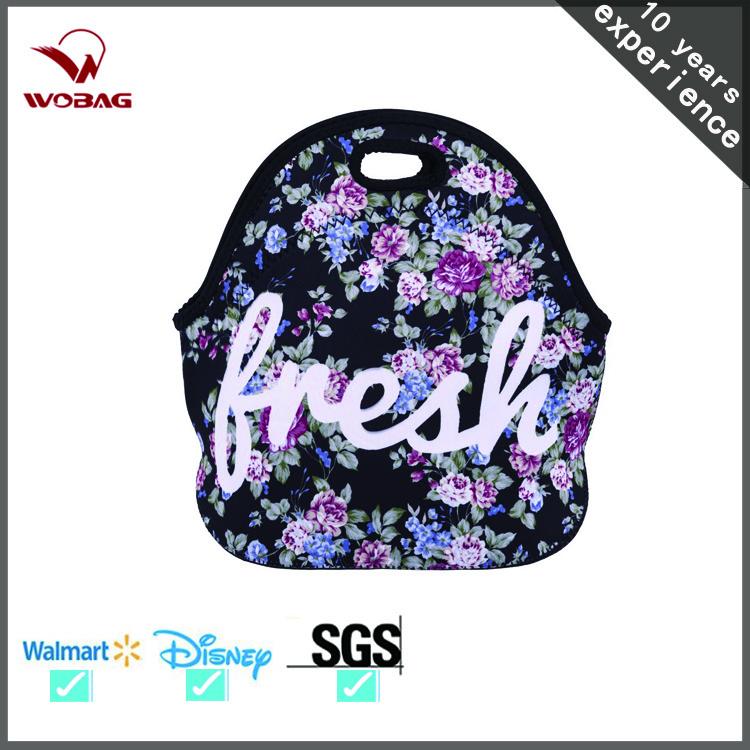 Women Cooler Insulation Lunch Box Rose Flower Handbags Thermal Insulated Neoprene Bag