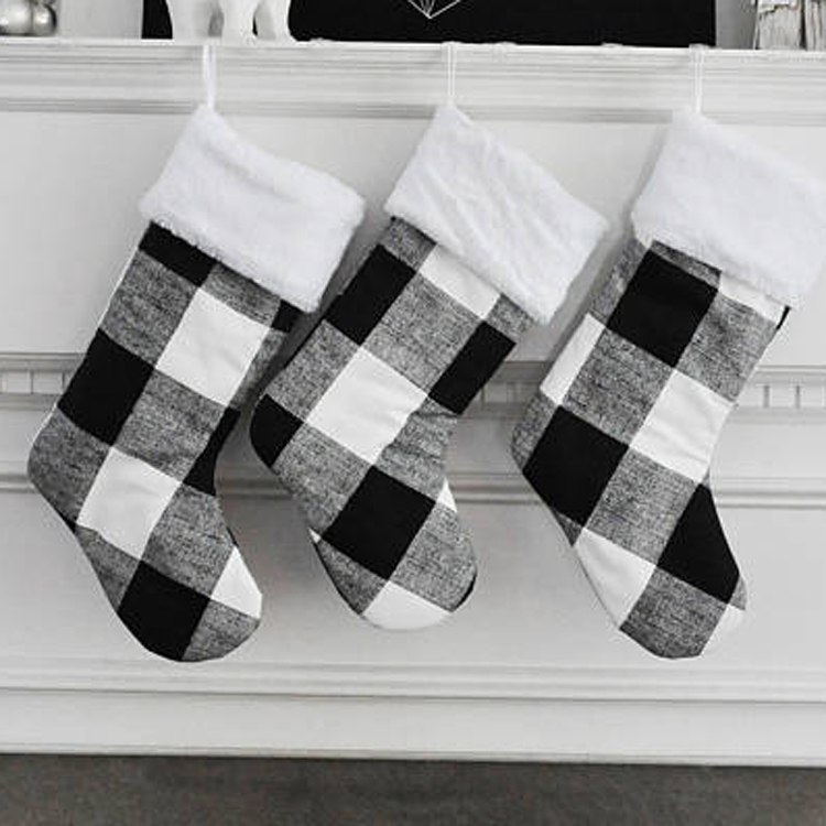 Wholesale Personalized Family Christmas Stocking Set Black And White