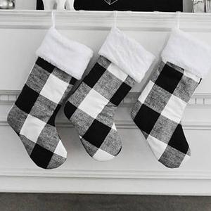 Black And White Christmas Stockings.Wholesale Personalized Family Christmas Stocking Set Black And White Plaid Christmas Stocking