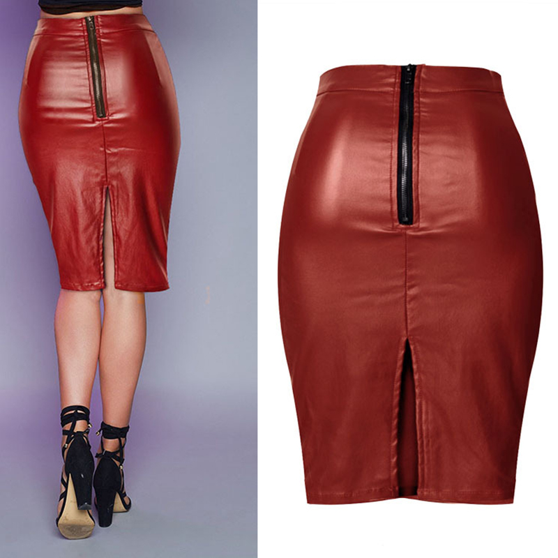 e555e524f5279f ... 2017 new rock and roll hot high waist Slim stretch wine red coating  leather cowboy half ...