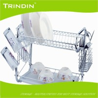 MD002 Household Stainless Steel 2 Tier Chrome Wire Dish Rack Kitchen Dish Rack
