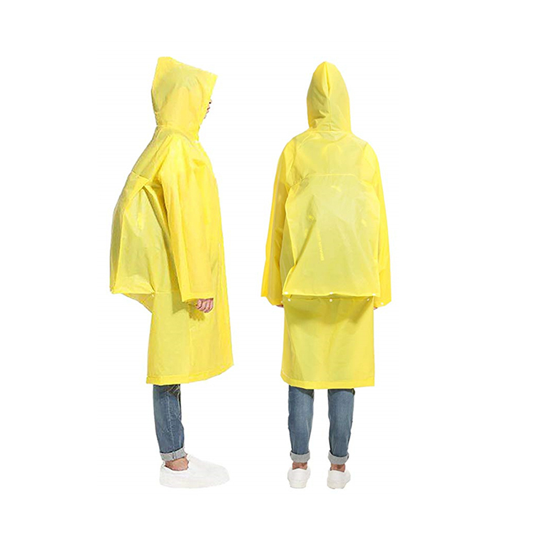 Adults Reusable Waterproof Vinyl Hooded Festival Hiking Camping Poncho Yellow