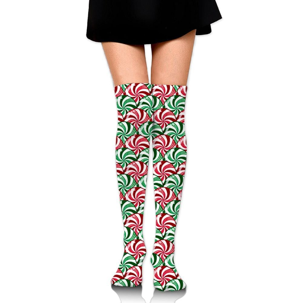 681f088b04a33 Get Quotations · Knee High Compression Stocking Christmas Peppermint And  Wintergreen Striped Candy Scales Red Green White Team Sport