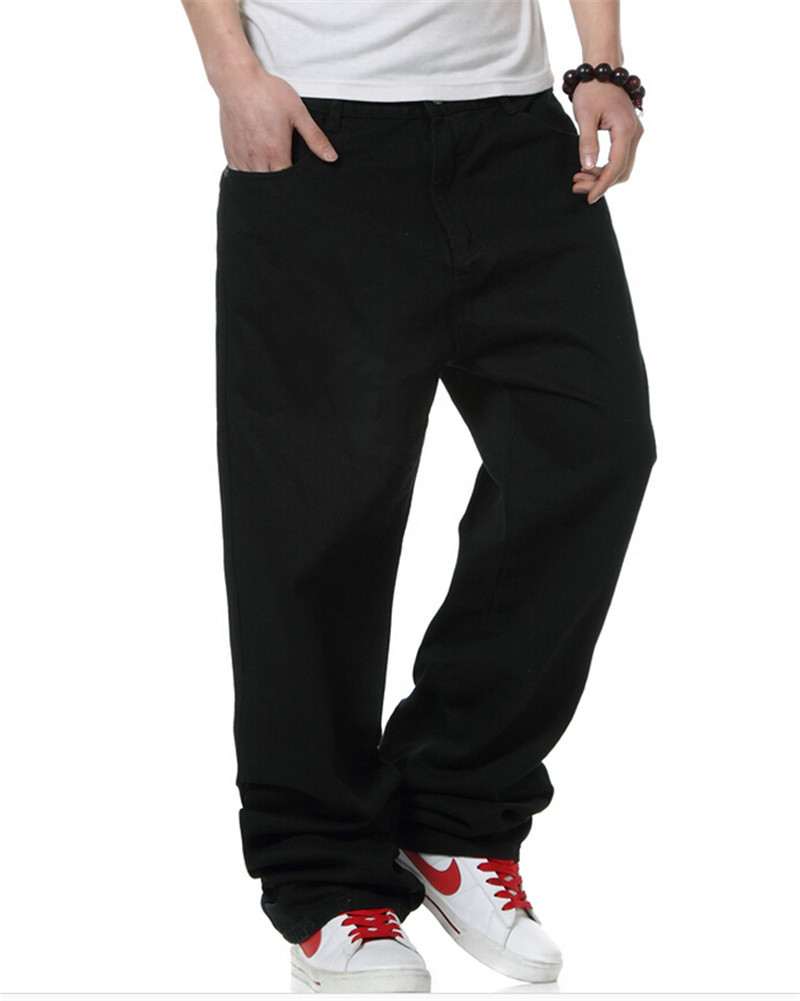 aee50f066b1 Get Quotations · Large Size Baggy Men Jeans Long Skateboard Loose Casual  Pants Hiphop Man Big Size Black Big