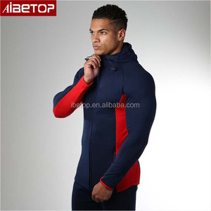 Wholesale fitness clothing blank gym zip high neck fitted cut and sew hoodie