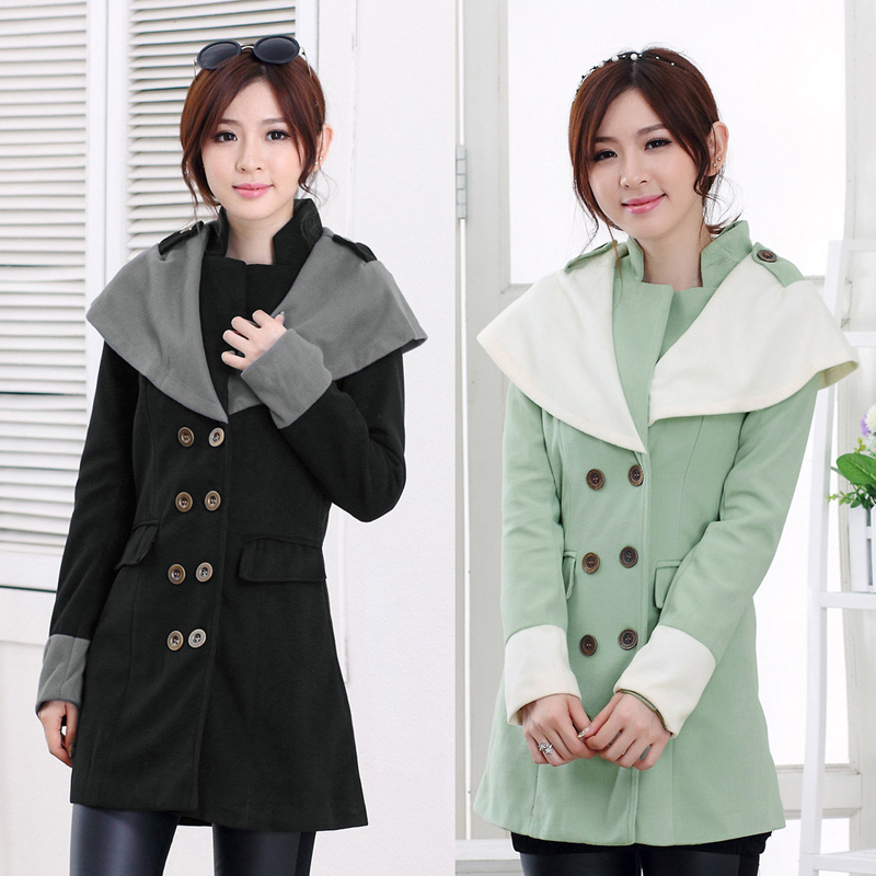 Зима женщины в шерстяное пальто женщины пальто контрастные большие нагрудные двубортная эполет верхняя одежда