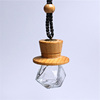7ml wholesale diamond car air freshener bottle hanging car diffuser with wooden cap glass perfume bottle