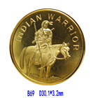 1/2 oz .100 Mills Gold Plated 3 Round coin Indian Warrior item 2 of 3 Round coin