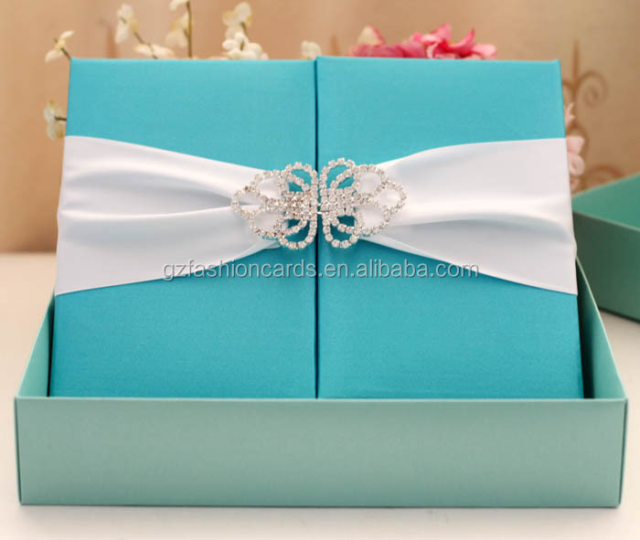 Blue Color Box Type Decorating Silk Material Diy Wedding Invitations