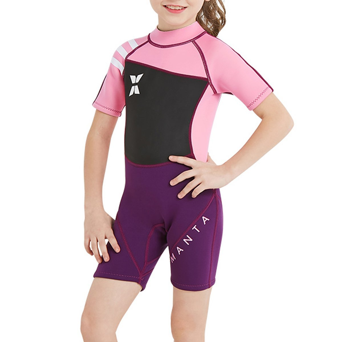 Get Quotations · FONICO Wetsuit kids 2.5mm Premium Neoprene Wetsuit for  Girls and Boys Shorty Swimsuit Back Zip 56ea9c0a7