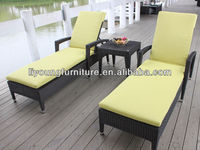 Outdoor relaxing rattan day bed/wicker daybed/rattan sun lounger with aluminum frame and powder coated LG20-2026