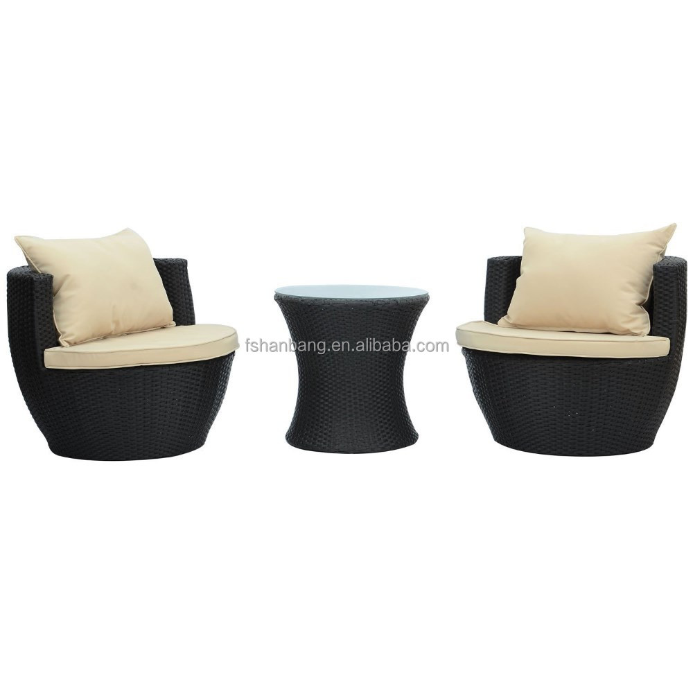 3 Piece Wicker Rattan Vase Stackable Coffee Table Lounge Chair