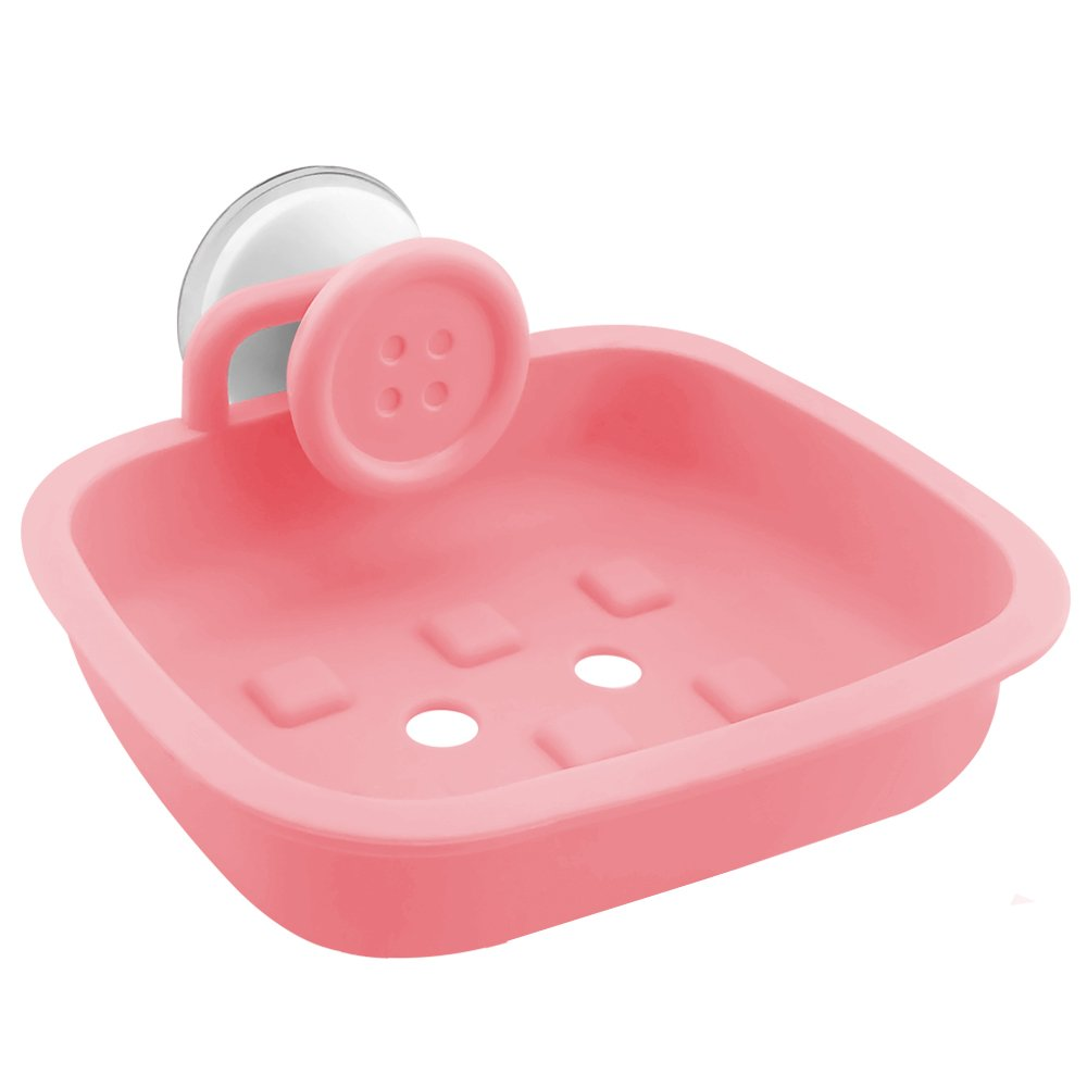 JOJO STYLE Multiple Plastic Soap Case Holder Container Box - With Gifts – Bathroom Soap Case – Macaron Pink