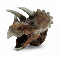 Simulation triceratops hand puppet soft rubber dinosaur toy for kids